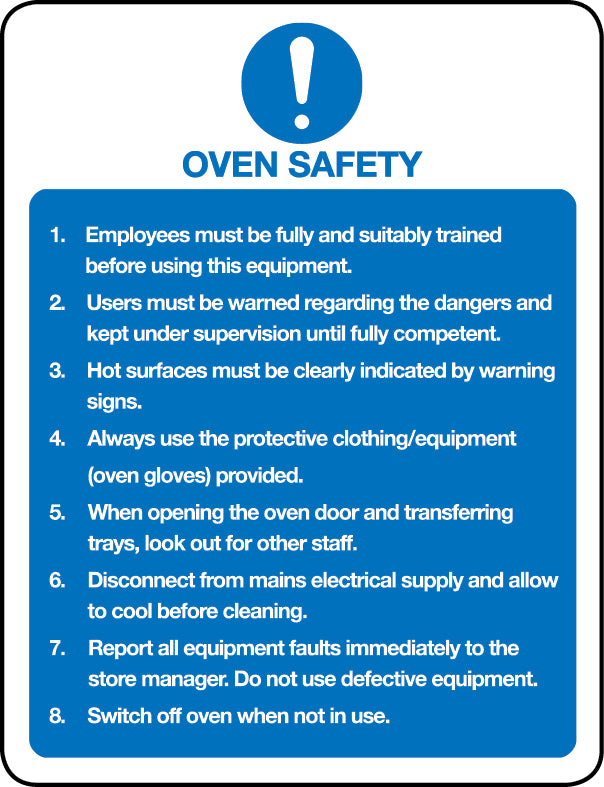 Oven safety regulations sign