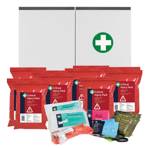 Critical Injury Pack in Red Poly Bag BS8599-1:2019