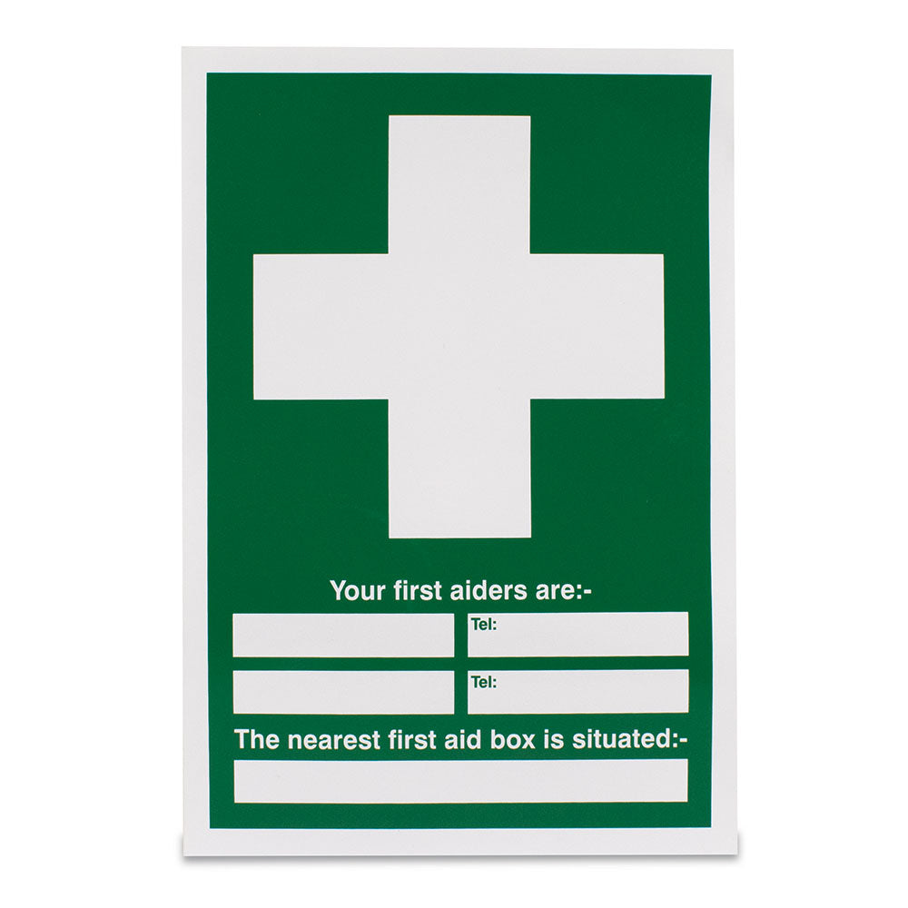 Your first aiders are - The nearest first aid box... Sign