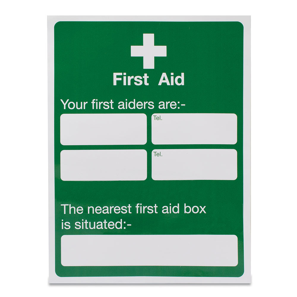 Your first aiders are - located Sign