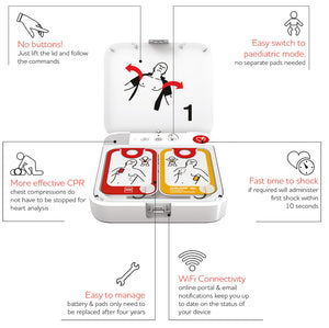Lifepak CR2 USB Defibrillator Unit - Fully Automatic With Wifi and Carry Case
