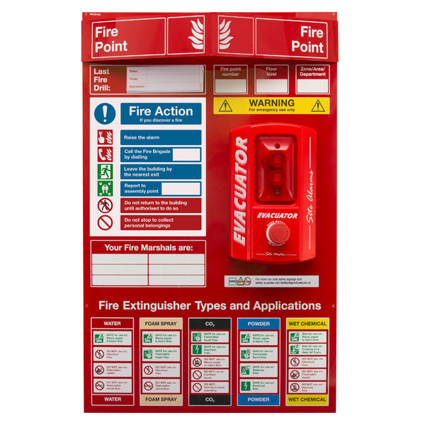 Fire Point Board - Push Button Alarm & 6 Point Fire Action Notice