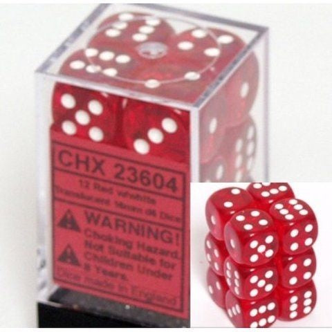Translucent Red 16mm D6 Dice Set CHX23604