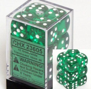 Translucent Green 16mm D6 Dice Set CHX23605