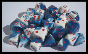 Gemini Astral Blue-White/Red Polyhedral Dice Set CHX26457