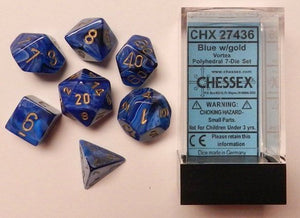 Vortex Blue/Gold Polyhedral Dice Set CHX27436