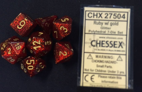 Glitter Ruby Red/Gold Polyhedral Dice Set CHX27504