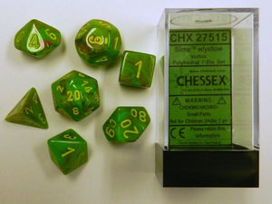 Vortex Slime/Yellow Polyhedral Dice Set CHX27515