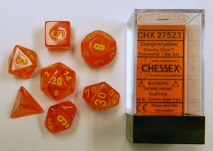 Ghostly Glow Orange/Yellow Polyhedral Dice Set CHX27523