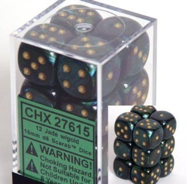 Scarab Jade/Gold 16mm D6 Dice Set CHX27615