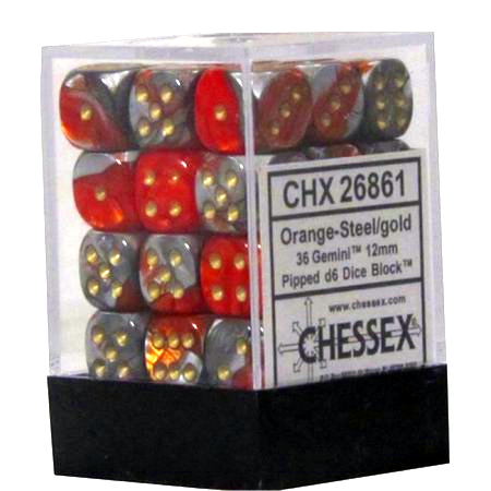 Gemini Orange-Steel/Gold 12mm D6 Dice CHX26861