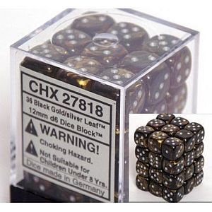 Leaf Black Gold/Silver12mm D6 Dice CHX27818