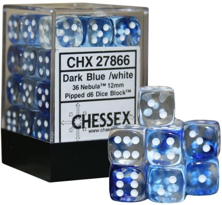 Nebula Blue/White12mm D6 Dice CHX27866