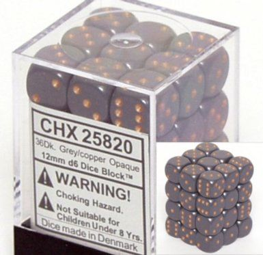 Dark Grey/Copper 12mm D6 Dice CHX25820