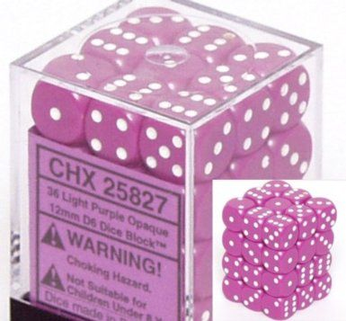 Light Purple/White 12mm D6 Dice CHX25827