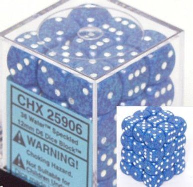 Speckled Water 12mm D6 Dice CHX25906