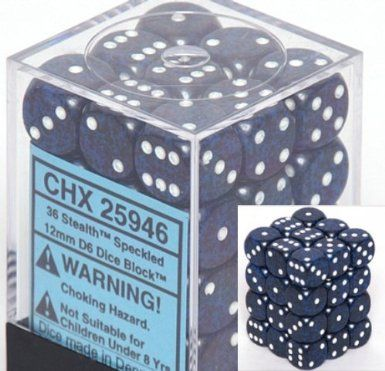 Speckled Stealth 12mm D6 Dice CHX25946