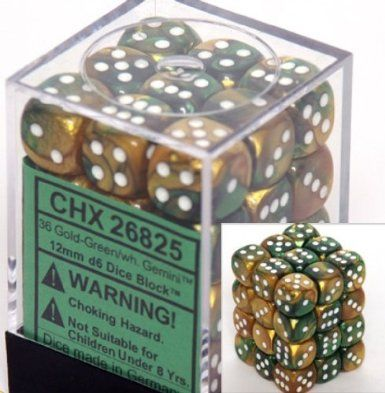 Gemini Gold-Green/White 12mm D6 Dice CHX26825