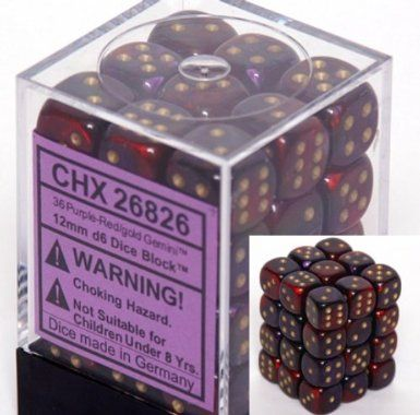 Gemini Purple-Red/Gold 12mm D6 Dice CHX26826