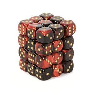 Gemini Black-Red/Gold 12mm D6 Dice CHX26833
