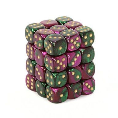 Gemini Green-Purple/Gold 12mm D6 Dice CHX26834