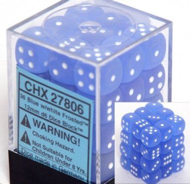 Frosted Blue/White 12mm D6 Dice CHX27806