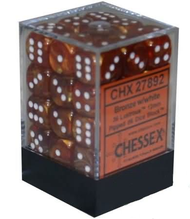 Lustrous Bronze/White 12mm D6 Dice CHX27892