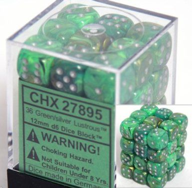 Lustrous Green/Silver 12mm D6 Dice CHX27895