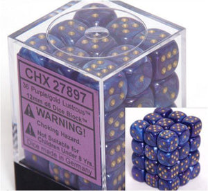 Lustrous Purple/Gold 12mm D6 Dice CHX27897
