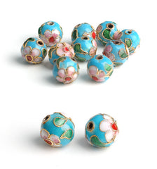 596 Turquise Cloisonne Perle 8 mm