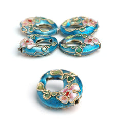 871 Turquise oval Cloisonne Perle 20 mm