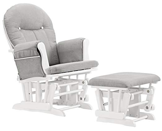 Celine Glider and Ottoman, White/Gray Cushion with White Piping