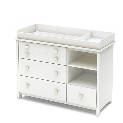 Convertible Changing Table with Storage Drawers and Removable Changing Station, Pure White