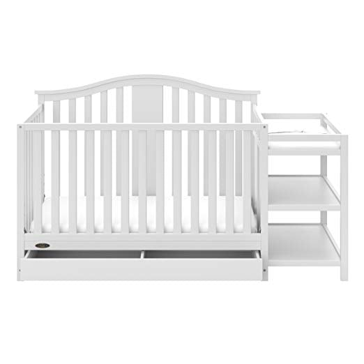 Solano 4-in-1 Convertible Crib and Changer with Drawer White