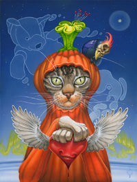 Sean Chappell - Red Fracture - Surrealism painting - Modern surreal art - cats, pumpkins, birds, flying heart