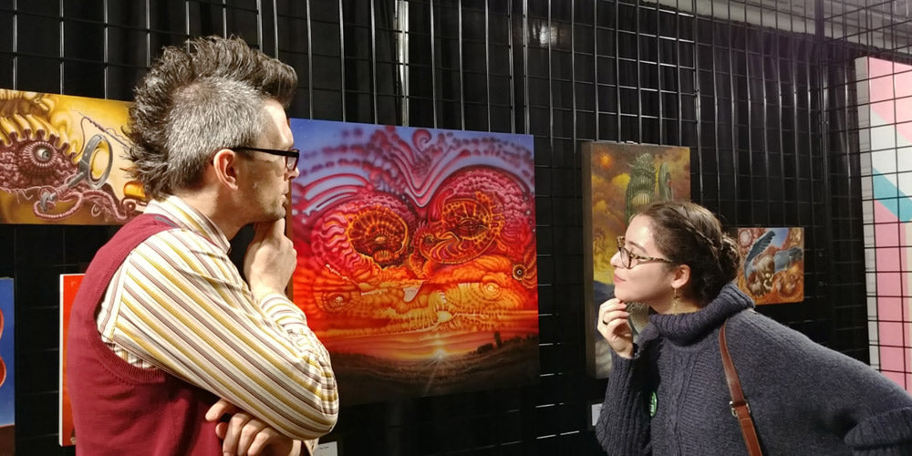 Red Fracture - Sean Chappell and Carmen Peters discussing the Art on display.