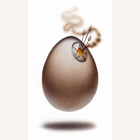 Red Fracture - Sean Chappell - image of a rotten egg, deviled egg, bad egg