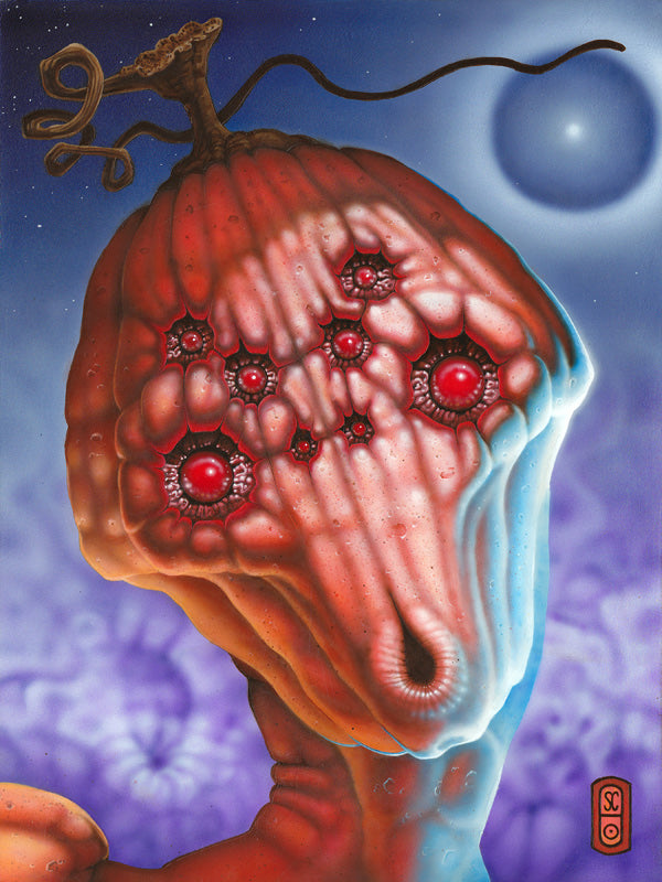 "Red Fracture - Octo Pumpkin Portrait - Acrylic Painting - 9"" x 12"" - SOLD"
