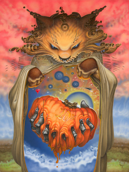 Red Fracture - Sean Chappell - Acrylic painting, cat, pumpkin, surreal, surrealism, Salvador Dali, weird art, bizarre, dream imagery
