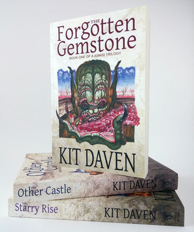 Red Fracture - commissions - Book photo - The Forgotten gemstone, the other castle, the starry rise by Kit Daven. The Xiinisi Trilogy