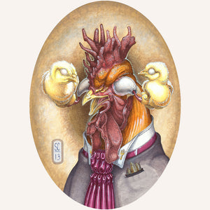Red Fracture - Sean Chappell - gouache, ballpoint pen, illustration board, chicken, rooster, chick, hens, eggs, suit