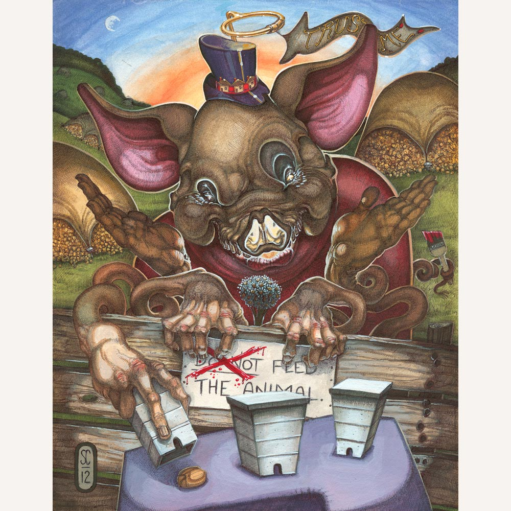 Red Fracture - Sean Chappell - Gouache, ballpoint pen, illustration board, pig, hog, skull, top hat, halo, hives, bees, wheat.
