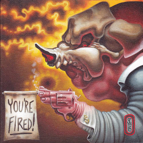 Red Fracture - Sean Chappell - Acrylic painting, canvas, pig, boar, hand gun, suit, skull, you're fired.
