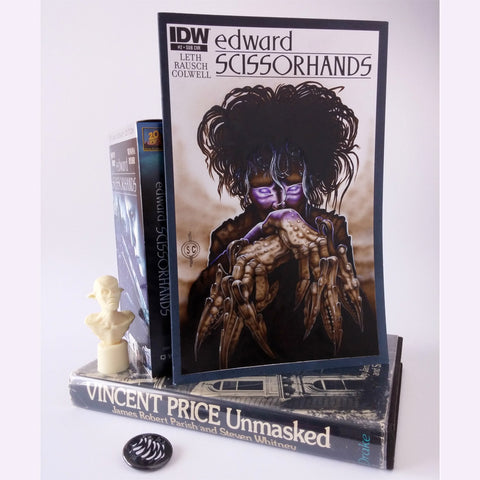 Red Fracture - Edward Scissorhands Sketch Cover - Pictured with Edward Scissorhands VHS movie, and Vincent Price Unmasked - Book