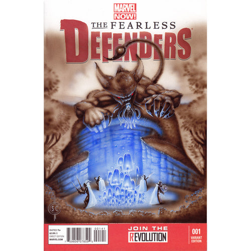 Red Fracture - Sketch Cover - The Fearless Defenders #1 - Airbrushed acrylics and watercolour pencils.