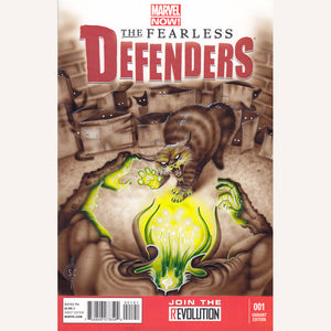 Red Fracture - Sketch cover - Marvel fearless defenders #1 - Pictured, an angry cat with a fluffy tail attacking a chthulu zombie.