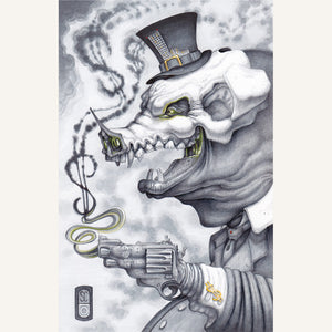 Red Fracture - Sean Chappell - Drawing, markers, ballpoint pen, gouache. Grinning pig, top hat, suit, hand gun.