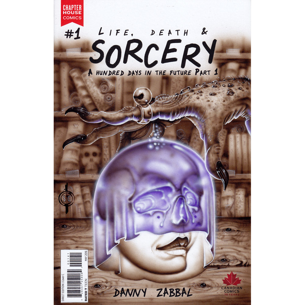 Red Fracture - Sketch Cover - Life, Death and Sorcery #1 - Chapter House Comics - Airbrushed acrylics and watercolour pencils