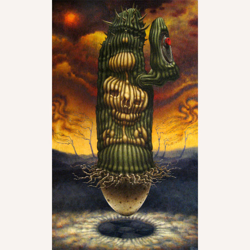 Red Fracture - Sean Chappell - Acrylic painting, nuclear fallout, egg, cactus, push the button, nuclear winter, nuclear symbol.