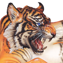Load image into Gallery viewer, Red Fracture - Close up of a growling tiger head painted in acrylics.